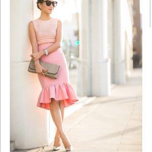 ASOS Textured Peplum Hem Midi Skirt Pink